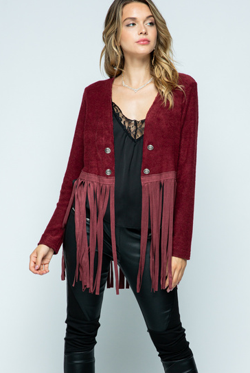 Vocal Apparel Women's Jacket w/Suede Fringe - Burg
