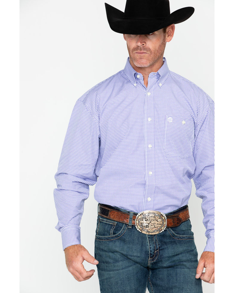 Wrangler Men's George Strait Small Check Long Sleeve Shirt