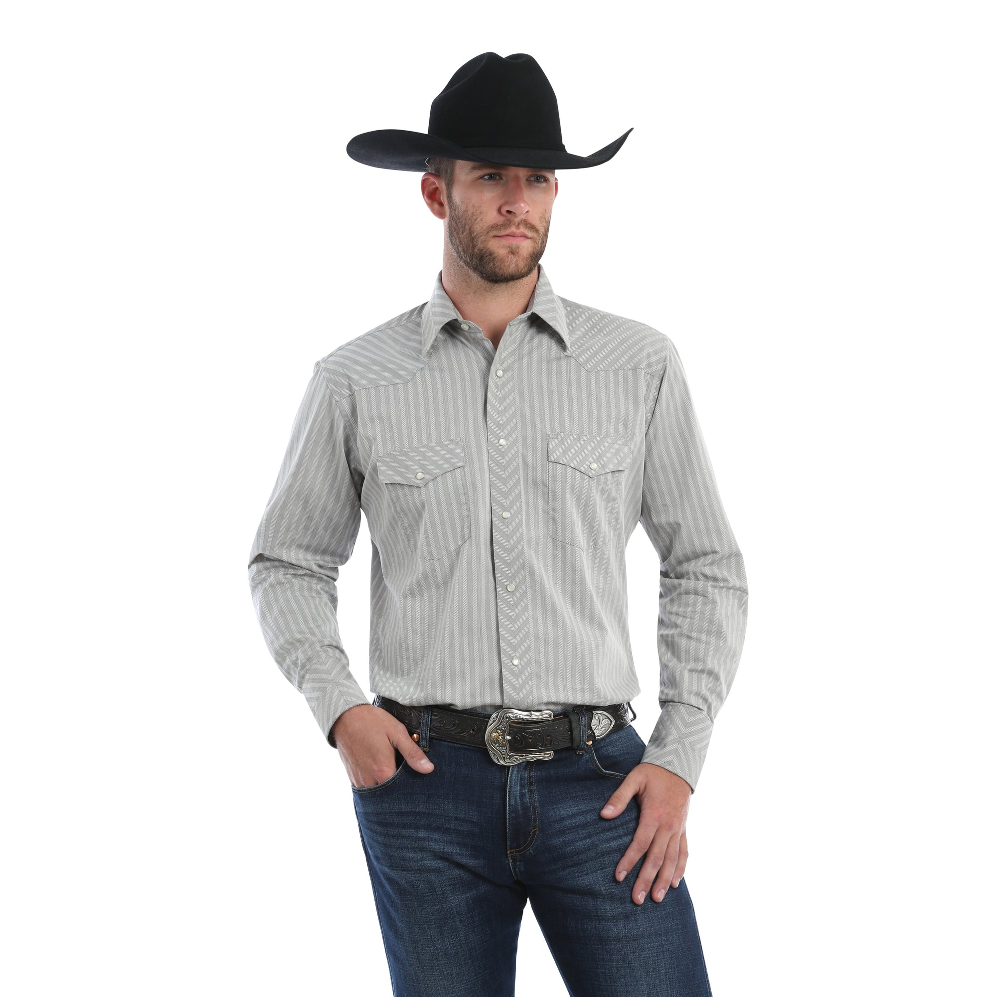 Wrangler Men's Silver Edition Long Sleeve Western Shirt