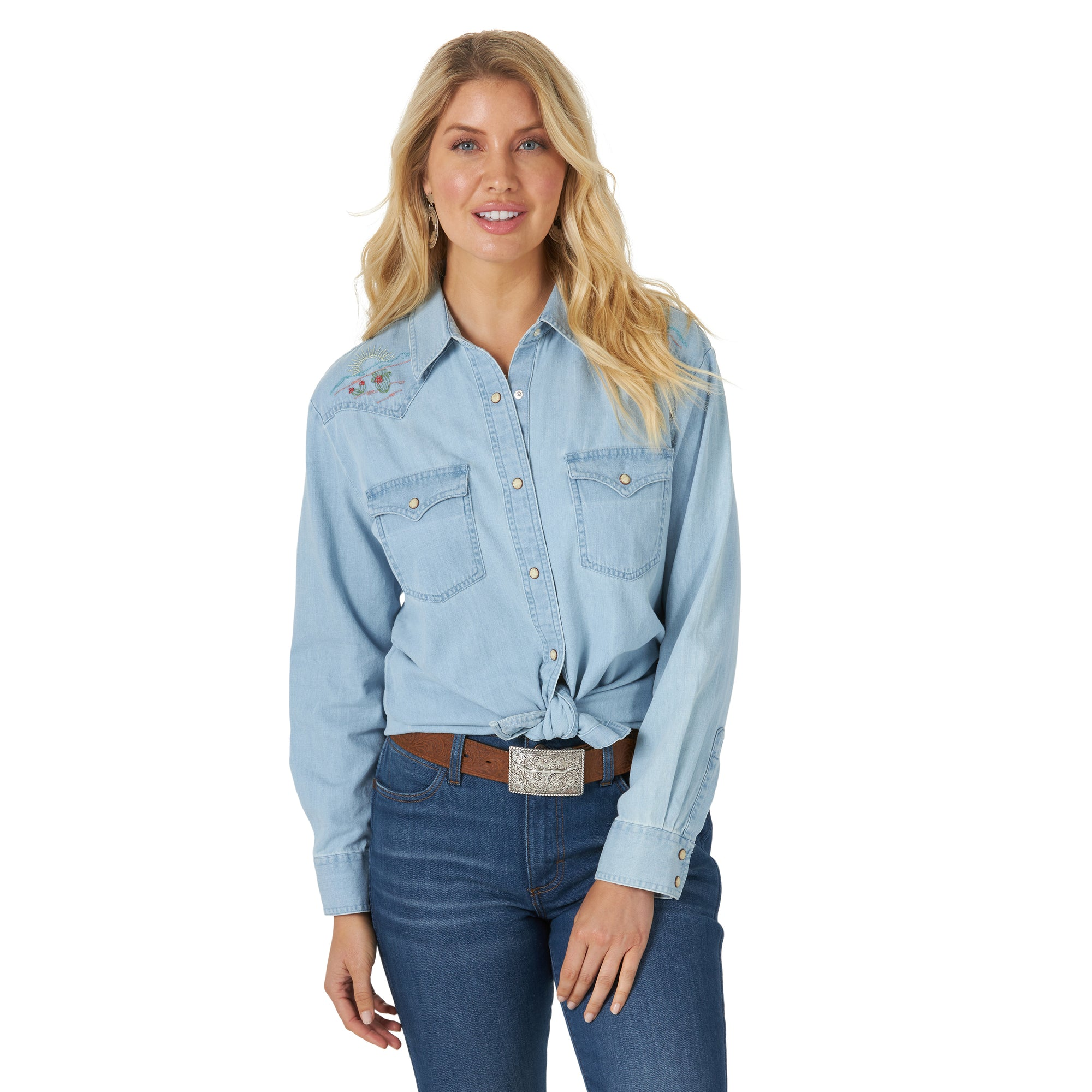 Wrangler Women's Retro Chambray with Embroidered Yokes Western Shirt