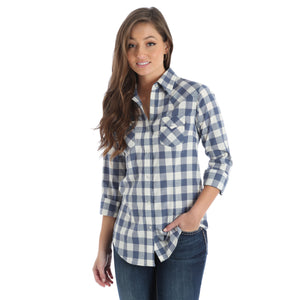 Wrangler Women's Western Plaid Fashion Top