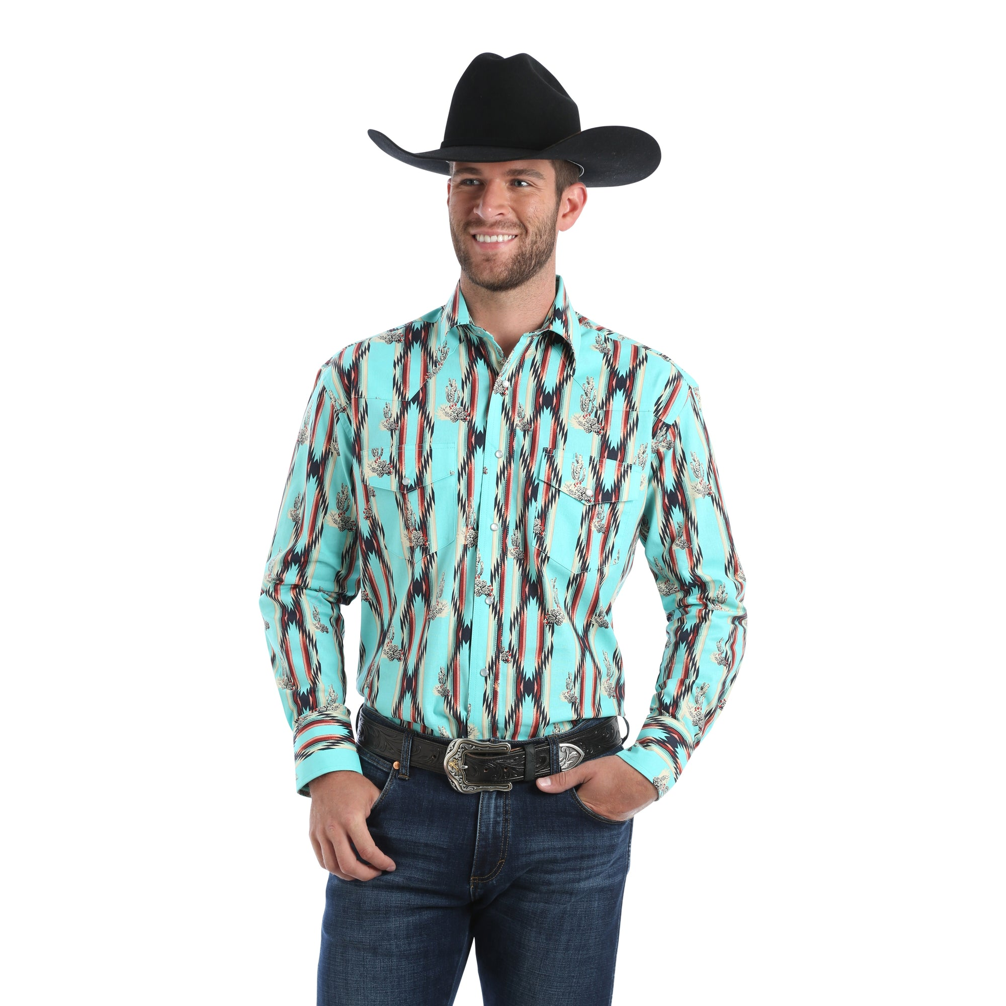 Wrangler Men's Checotah Dress Western Long Sleeve Shirt