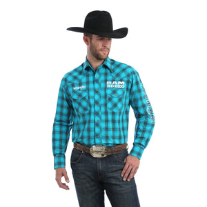 Wrangler Men's Logo Ram Rodeo Long Sleeve Western Shirt
