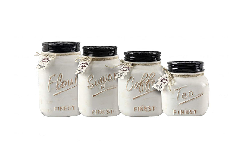 Young's 4 Piece Ceramic Country Canister Set - IN STORE PURCHASE ONLY