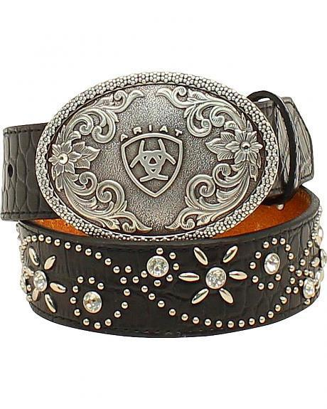 Ariat Girls Swirl Studded Crocodile Print Belt