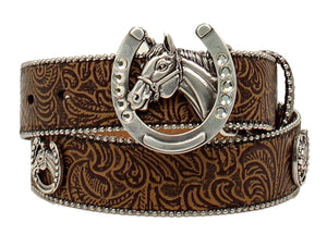 Ariat Girls Horseshoe & Horse Head Embossed Belt