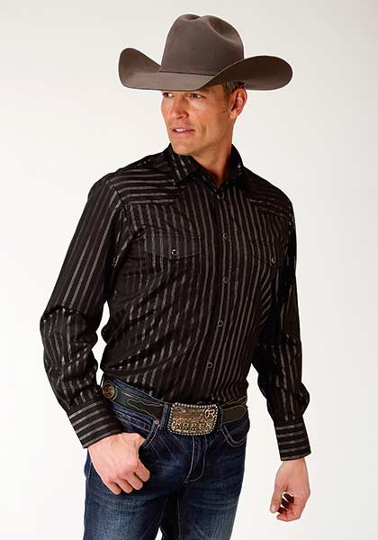 Roper Men's Black Longsleeve Stripe