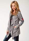 Roper Women's Long Sleeve Grey Drape Cardigan