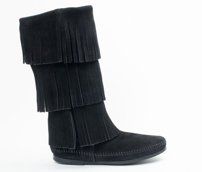 Minnetonka Women's Black 3-Layer Fringe Boot