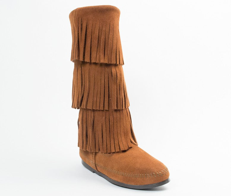 Minnetonka Women's Brown 3-Layer Fringe Boot