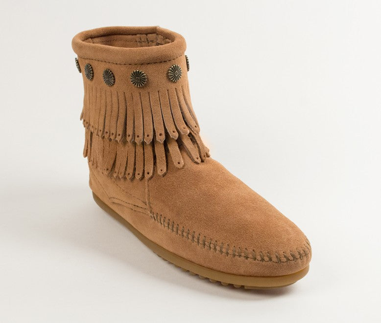 Minnetonka Women's Double Fringe Taupe Side Zip Boot