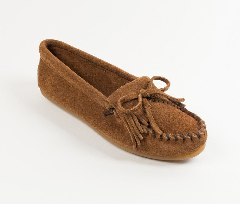 Minnetonka Women's Dusty Brown Kilty Hard Sole Moccasin