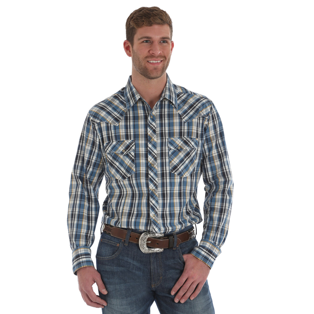 Wrangler Men's Plaid Fashion Snap Long Sleeve Shirt