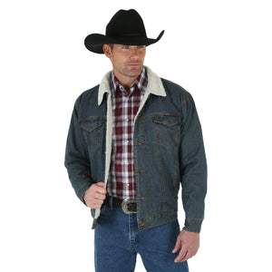 Wrangler Men's Sherpa Lined Rustic Denim Jacket