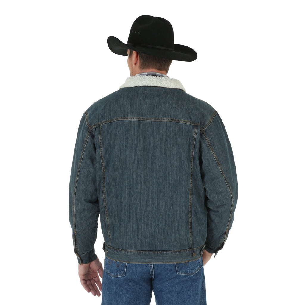 8237765ac02 Wrangler Men s Sherpa Lined Rustic Denim Jacket
