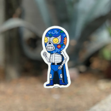 Blue Demon Calavera by Mis Nopales