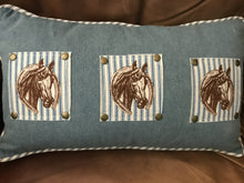Denim and Ticking Horse Pillow