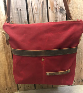 Waxed Canvas Zipper Tote or Crossbody