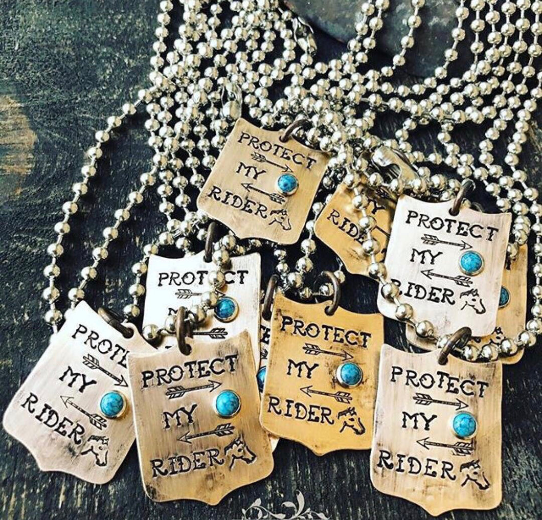 Protect My Rider Brass Tag Necklace