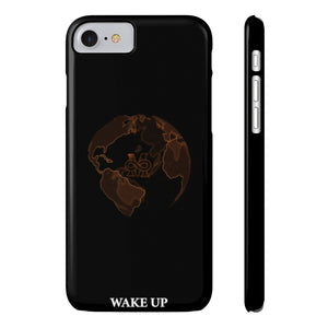 """WAKE UP EARTH"" Slim Midnight Phone Case"