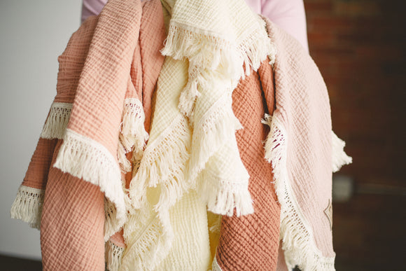 Fringe Blankets with Personalization - Spring Collection