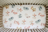 Four Piece Crib Sheet and Swaddle Set - Cottontail