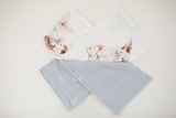 Four Piece Crib Sheet and Swaddle Set - Powder Blue