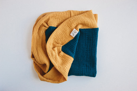 Mustard and Teal - 28 inch Color Block Blanket