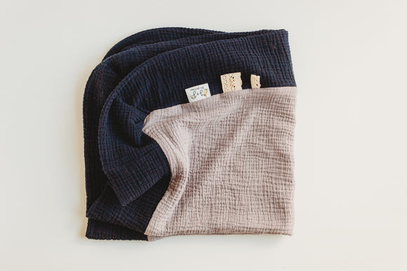 Navy and Dusty Lavender - 28 inch Color Block Blanket