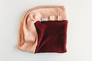 Peach and Cranberry - 28 inch Color Block Blanket