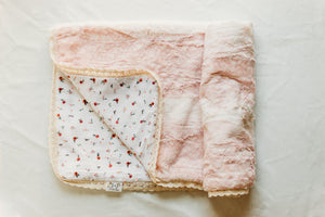 Crib Size Woodland Bloom Fawn Blanket in Rose Fawn