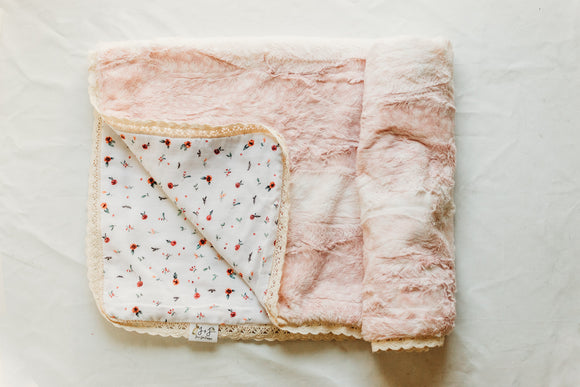 Woodland Bloom Fawn Blanket in Rose