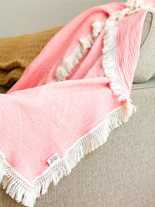 Blush Fringe Blanket - Optional Personalization
