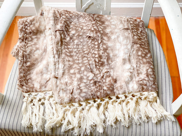 PREORDER IVORY MINKY BACKING Classic Fawn Blanket with Macrame Fringe - Adult, Child and Crib Sizes