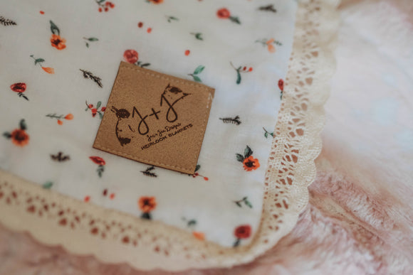 Rose Fawn Blanket with Lace - Crib Size