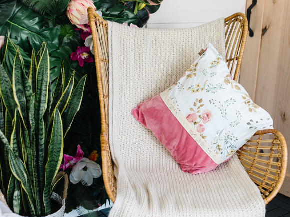 Two-Tone Minky Pillow Cover With Lace Detail - Peony Blossom and Lush
