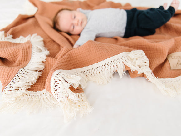 Clay Fringe Blanket - Optional Personalization