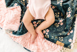 Peony Blossom Luxe Blanket in Indigo- Embossed Floral Minky - Adult, Child and Crib Sizes- Lace or Fringe