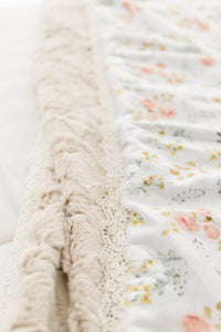 Peony Blossom Luxe Blanket in Cream and White - Embossed Lattice Minky - Adult, Child and Crib Sizes- Lace or Fringe
