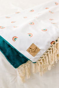 Boho Rainbow Blanket in Ocean Green - Adult, Child and Crib Sizes