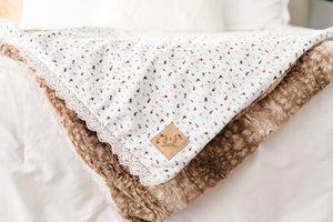 Luxe Christmas Blanket in Woodland Bloom - Fawn