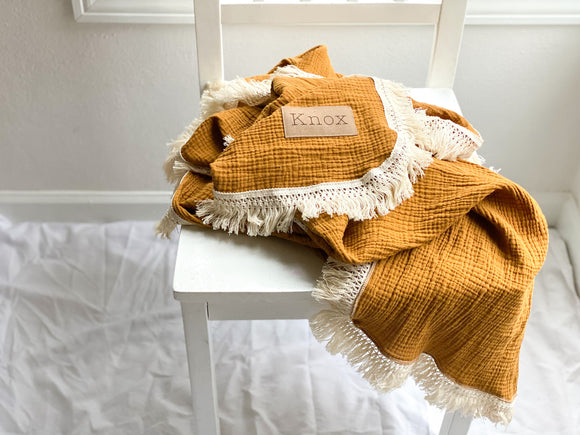 Marigold Fringe Blanket - Optional Personalization