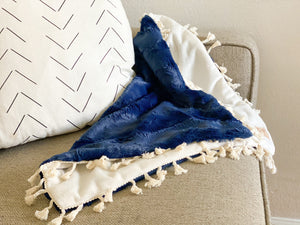 Navy and Ivory Minky Blanket- Lovey
