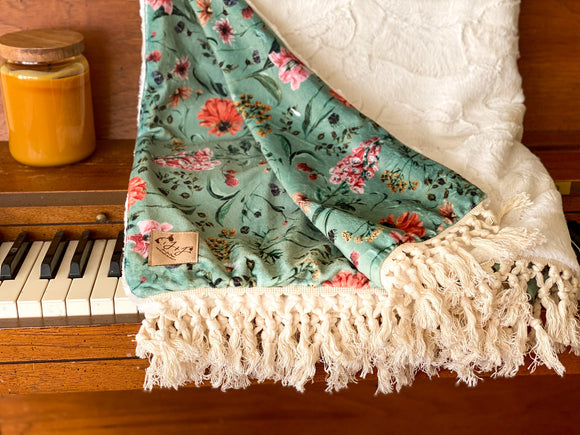 Fall Floral Luxe Minky Blanket- Sage Floral on Ivory