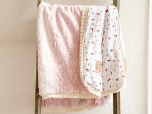 Rose Fawn Minky with Woodland Bloom Gauze - Crib Size