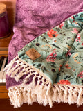 Fall Floral Luxe Minky Blanket- Sage Floral on Heathered Plum
