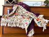 Fall Floral Luxe Minky Blanket- Flax Floral on Eggplant