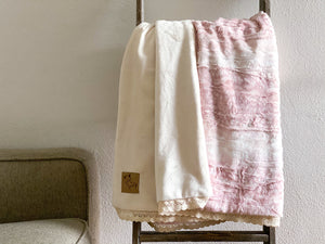 Rose Fawn and Ivory Luxe Minky Blanket - Child Size