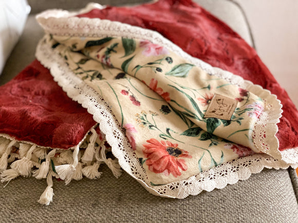 Garden Florals on Sienna Minky Blanket- Lovey