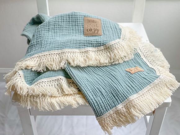 Sage Fringe Blanket - Optional Personalization